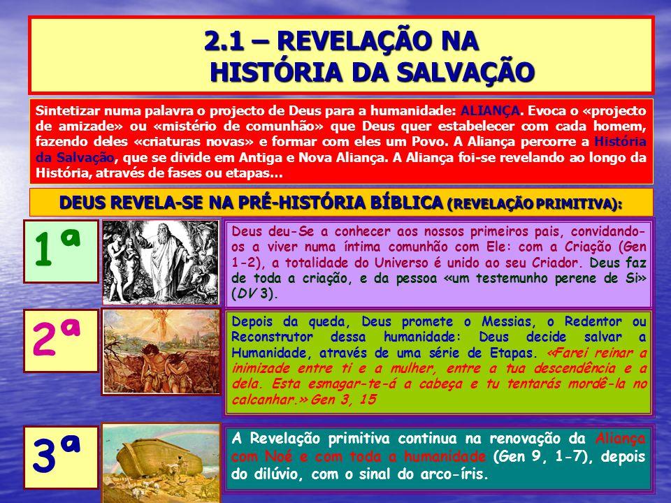 2.1 – REVELAÇÃO NA HISTÓRIA DA SALVAÇÃO Deus deu-Se a conhecer aos nossos primeiros pais, convidando- os a viver numa íntima comunhão com Ele: com a C