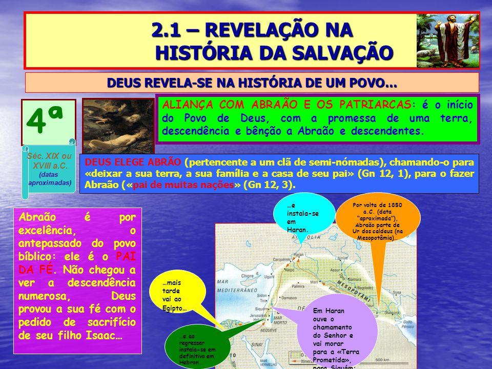 2.1 – REVELAÇÃO NA HISTÓRIA DA SALVAÇÃO DEUS REVELA-SE NA HISTÓRIA DE UM POVO… 4ª ALIANÇA COM ABRAÃO E OS PATRIARCAS: é o início do Povo de Deus, com a promessa de uma terra, descendência e bênção a Abraão e descendentes.
