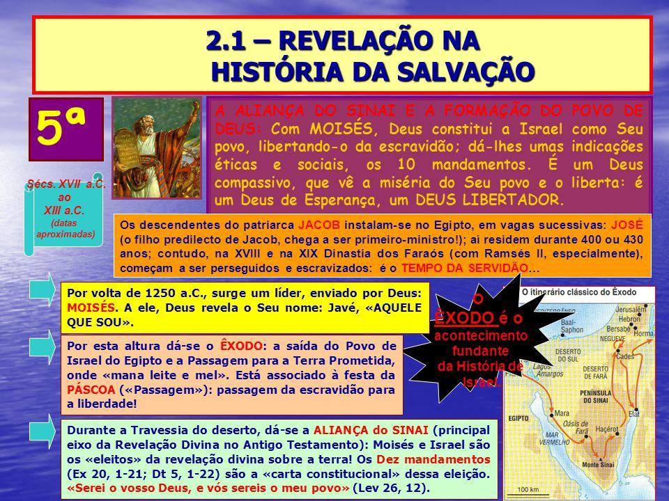 2.1 – REVELAÇÃO NA HISTÓRIA DA SALVAÇÃO 5ª A ALIANÇA DO SINAI E A FORMAÇÃO DO POVO DE DEUS: Com MOISÉS, Deus constitui a Israel como Seu povo, liberta