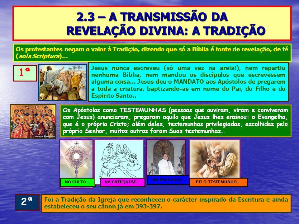 2.3 – A TRANSMISSÃO DA REVELAÇÃO DIVINA: A TRADIÇÃO 1ª Jesus nunca escreveu (só uma vez na areia!), nem repartiu nenhuma Bíblia, nem mandou os discípulos que escrevessem alguma coisa… Jesus deu o MANDATO aos Apóstolos de pregarem a toda a criatura, baptizando-as em nome do Pai, do Filho e do Espírito Santo..
