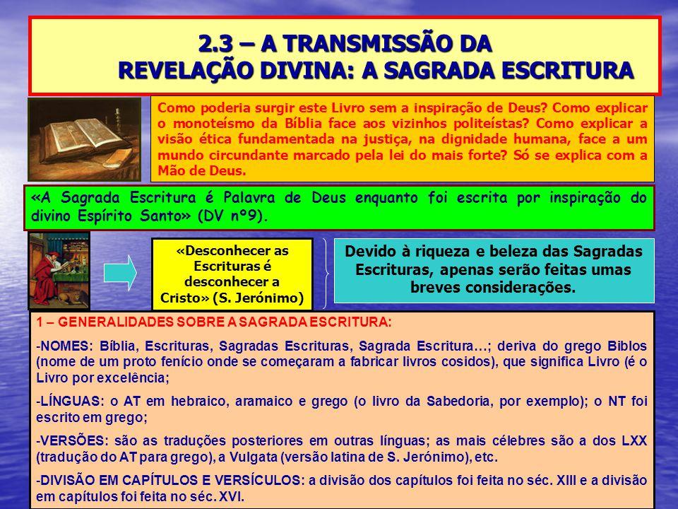2.3 – A TRANSMISSÃO DA REVELAÇÃO DIVINA: A SAGRADA ESCRITURA «A Sagrada Escritura é Palavra de Deus enquanto foi escrita por inspiração do divino Espírito Santo» (DV nº9).