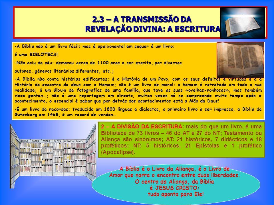 2.3 – A TRANSMISSÃO DA REVELAÇÃO DIVINA: A ESCRITURA 2.3 – A TRANSMISSÃO DA REVELAÇÃO DIVINA: A ESCRITURA -A Bíblia não é um livro fácil: mas é apaixonante.