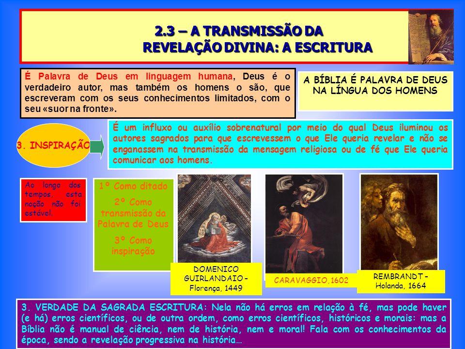 2.3 – A TRANSMISSÃO DA REVELAÇÃO DIVINA: A ESCRITURA 2.3 – A TRANSMISSÃO DA REVELAÇÃO DIVINA: A ESCRITURA A BÍBLIA É PALAVRA DE DEUS NA LÍNGUA DOS HOMENS 3.