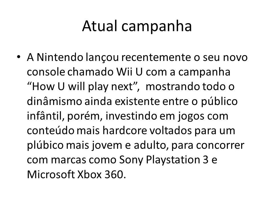 """Atual campanha • A Nintendo lançou recentemente o seu novo console chamado Wii U com a campanha """"How U will play next"""", mostrando todo o dinâmismo ain"""