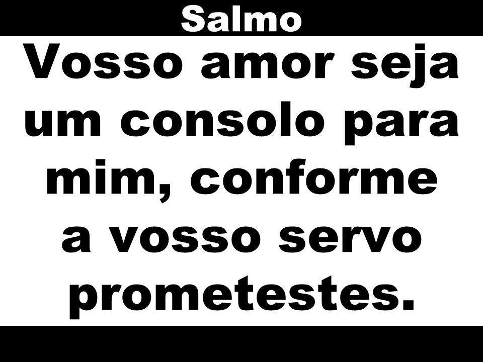 Vosso amor seja um consolo para mim, conforme a vosso servo prometestes. Salmo