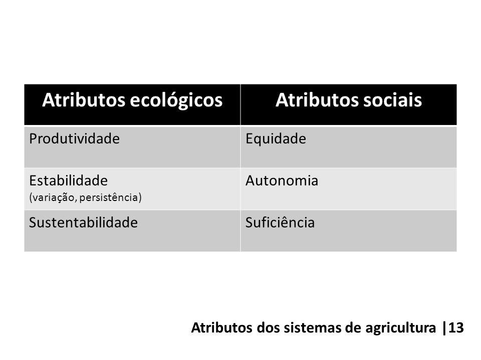 Atributos dos sistemas de agricultura |13 Atributos ecológicosAtributos sociais ProdutividadeEquidade Estabilidade (variação, persistência) Autonomia SustentabilidadeSuficiência