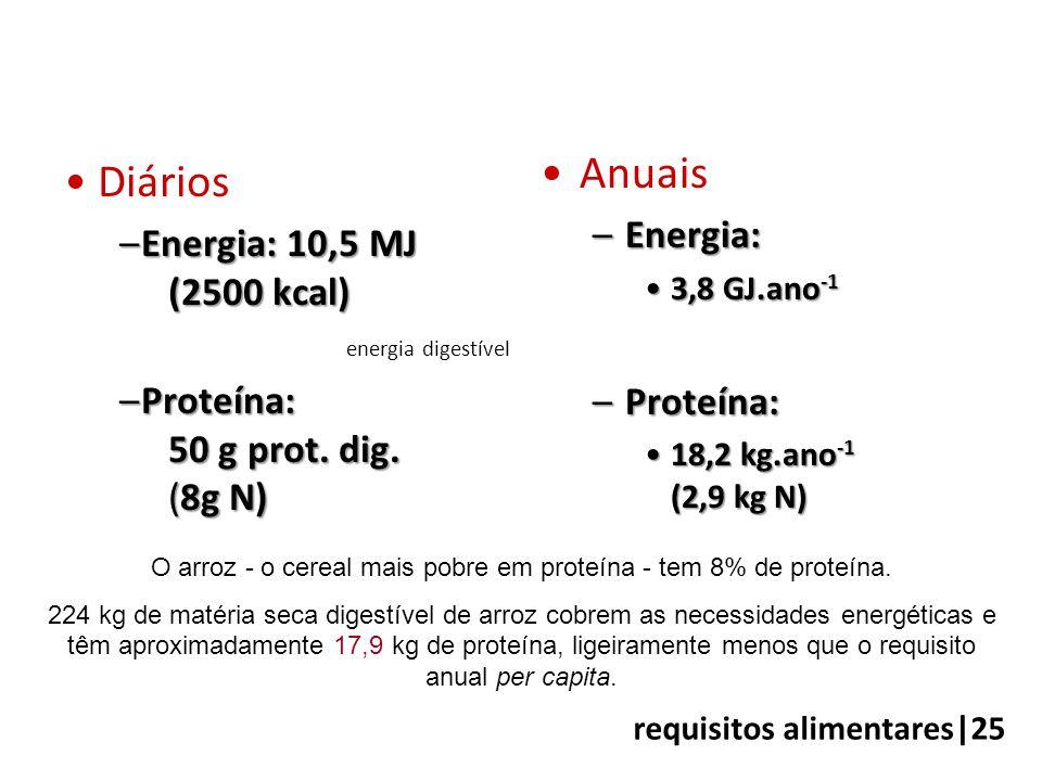 •Diários –Energia: 10,5 MJ (2500 kcal) energia digestível –Proteína: 50 g prot. dig. (8g N) •Anuais –Energia: •3,8 GJ.ano -1 –Proteína: •18,2 kg.ano -