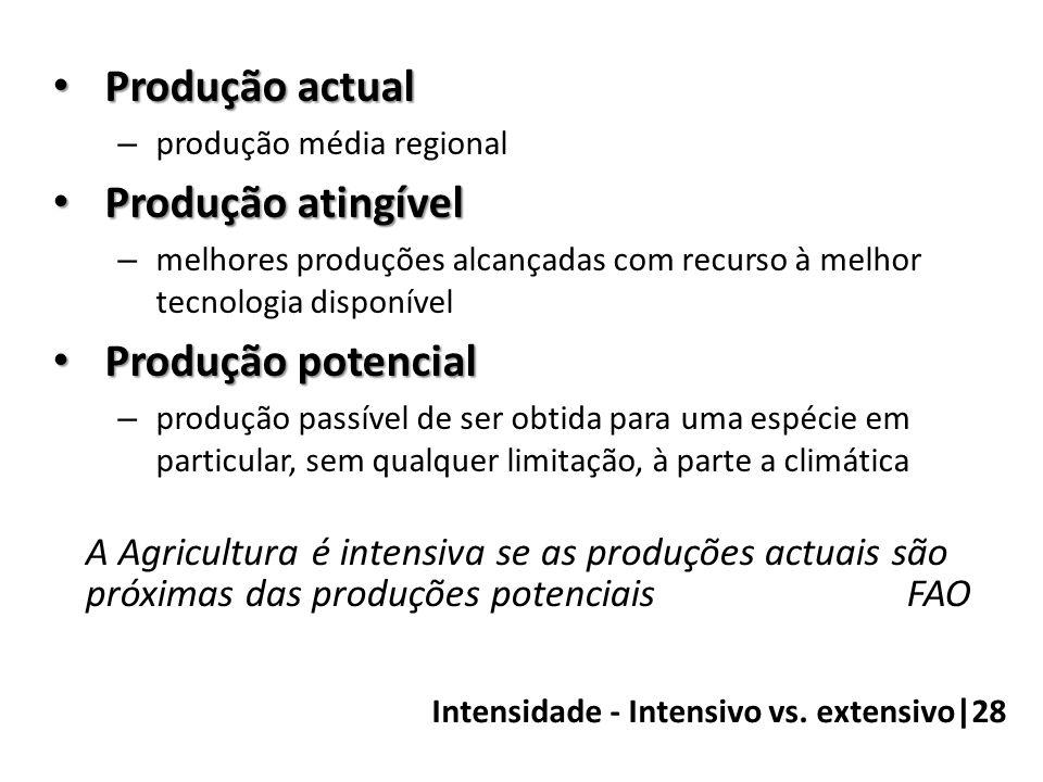 Intensidade - Intensivo vs. extensivo|28 • Produção actual – produção média regional • Produção atingível – melhores produções alcançadas com recurso