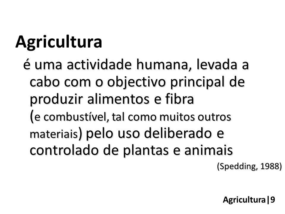 Agricultura|9 Agricultura é uma actividade humana, levada a cabo com o objectivo principal de produzir alimentos e fibra ( e combustível, tal como muitos outros materiais ) pelo uso deliberado e controlado de plantas e animais (Spedding, 1988)