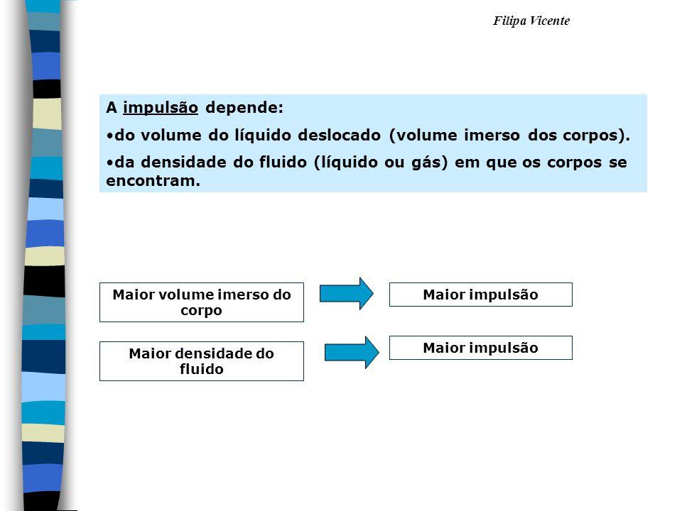 Filipa Vicente A impulsão depende: •d•do volume do líquido deslocado (volume imerso dos corpos). •d•da densidade do fluido (líquido ou gás) em que os