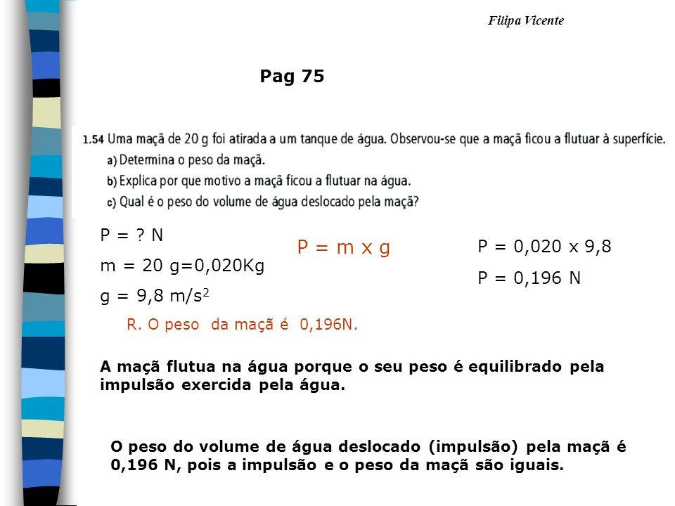Filipa Vicente Pag 75 P = ? N m = 20 g=0,020Kg g = 9,8 m/s 2 P = m x g P = 0,020 x 9,8 P = 0,196 N R. O peso da maçã é 0,196N. A maçã flutua na água p