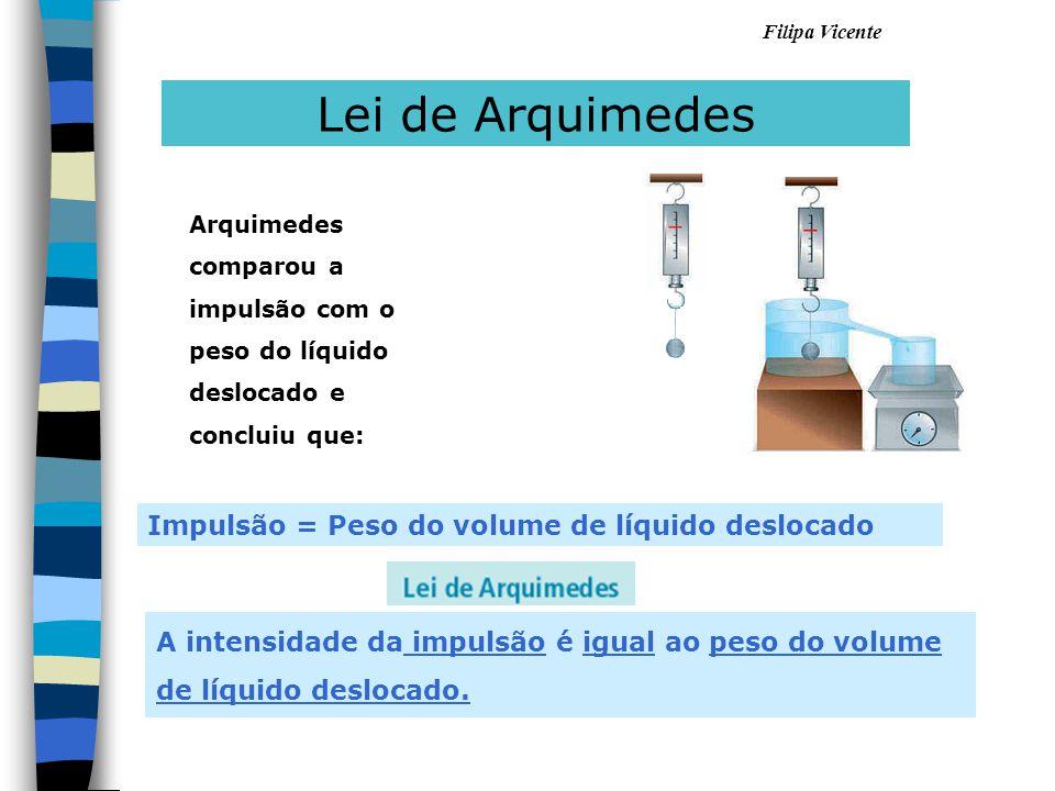 Filipa Vicente A intensidade da impulsão é igual ao peso do volume de líquido deslocado. Lei de Arquimedes Impulsão = Peso do volume de líquido desloc
