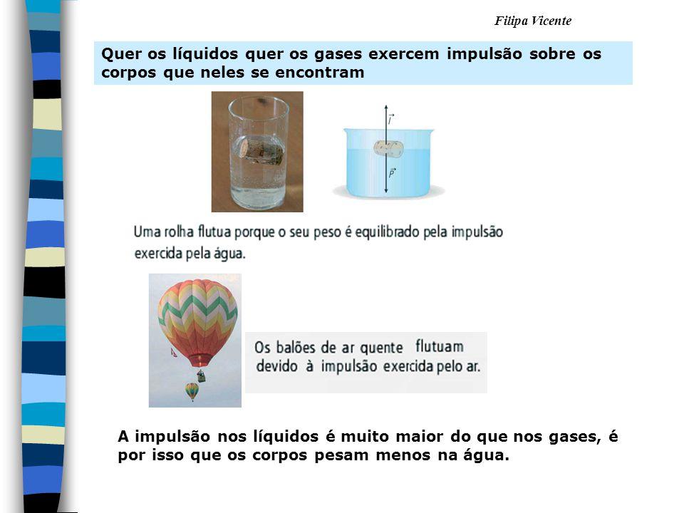 Filipa Vicente Quer os líquidos quer os gases exercem impulsão sobre os corpos que neles se encontram A impulsão nos líquidos é muito maior do que nos