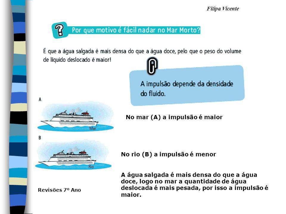 No mar (A) a impulsão é maior No rio (B) a impulsão é menor A água salgada é mais densa do que a água doce, logo no mar a quantidade de água deslocada