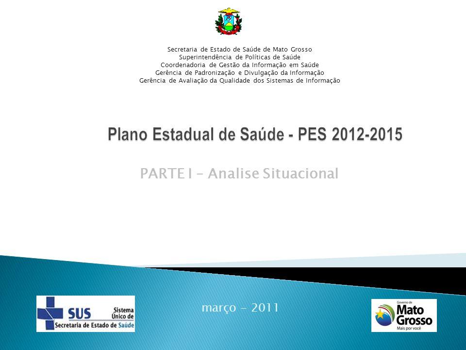 PARTE I – Analise Situacional março - 2011 Secretaria de Estado de Saúde de Mato Grosso Superintendência de Políticas de Saúde Coordenadoria de Gestão da Informação em Saúde Gerência de Padronização e Divulgação da Informação Gerência de Avaliação da Qualidade dos Sistemas de Informação