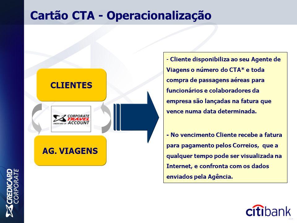 CLIENTES AG. VIAGENS - Cliente disponibiliza ao seu Agente de Viagens o número do CTA* e toda compra de passagens aéreas para funcionários e colaborad