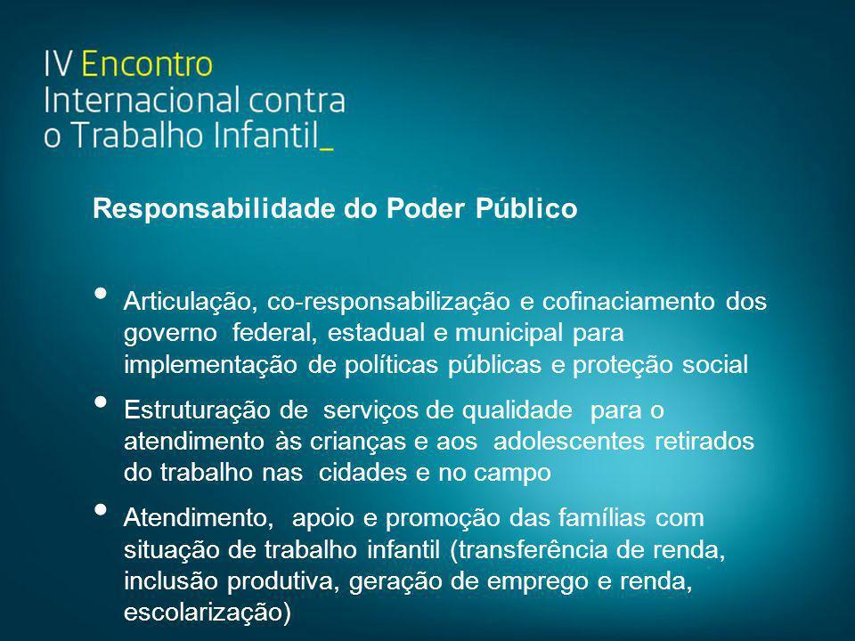 Responsabilidade do Poder Público • Articulação, co-responsabilização e cofinaciamento dos governo federal, estadual e municipal para implementação de