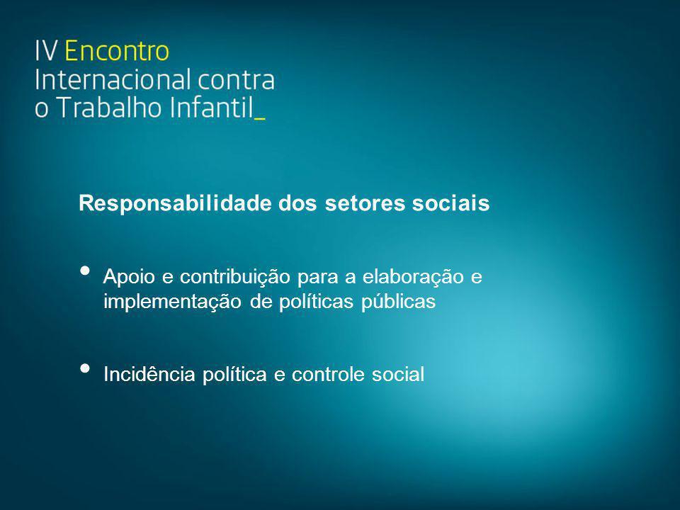 Responsabilidade dos setores sociais • Apoio e contribuição para a elaboração e implementação de políticas públicas • Incidência política e controle s