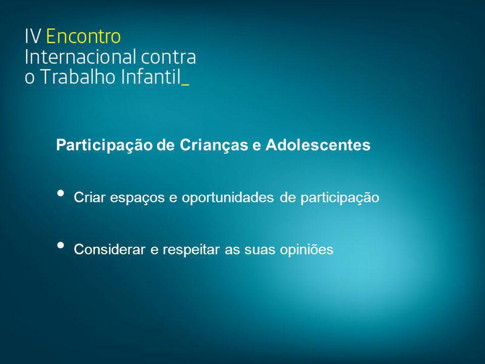 Participação de Crianças e Adolescentes • Criar espaços e oportunidades de participação • Considerar e respeitar as suas opiniões
