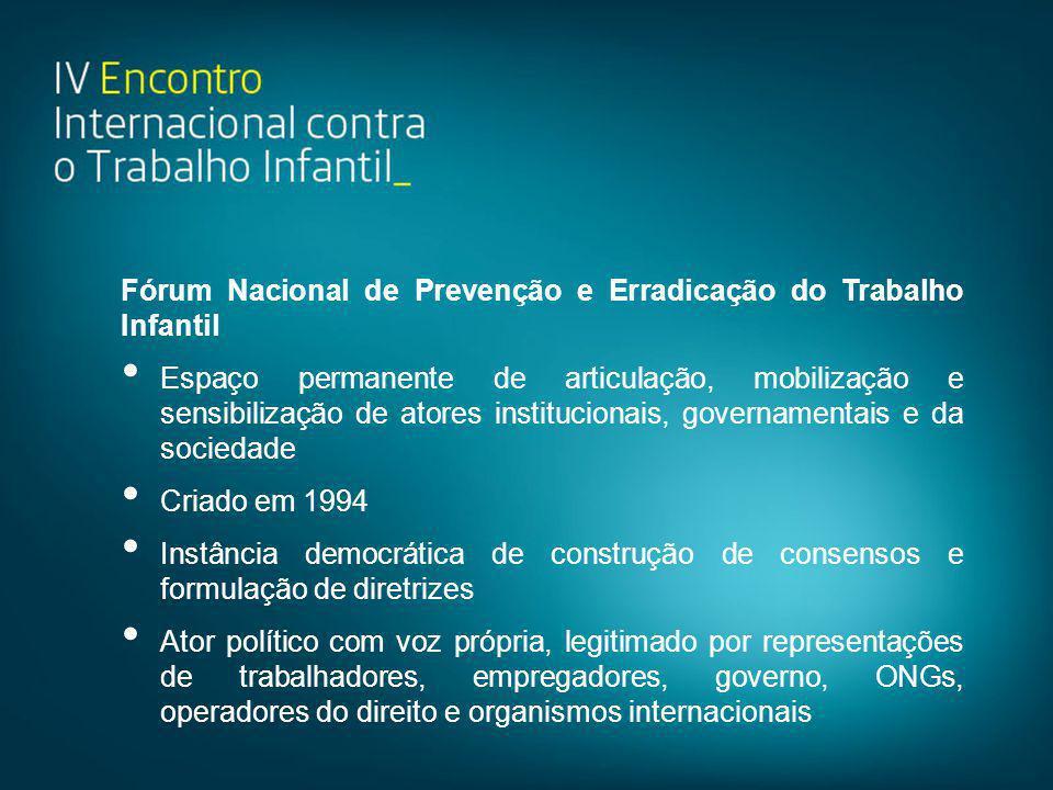Fórum Nacional de Prevenção e Erradicação do Trabalho Infantil • Espaço permanente de articulação, mobilização e sensibilização de atores instituciona