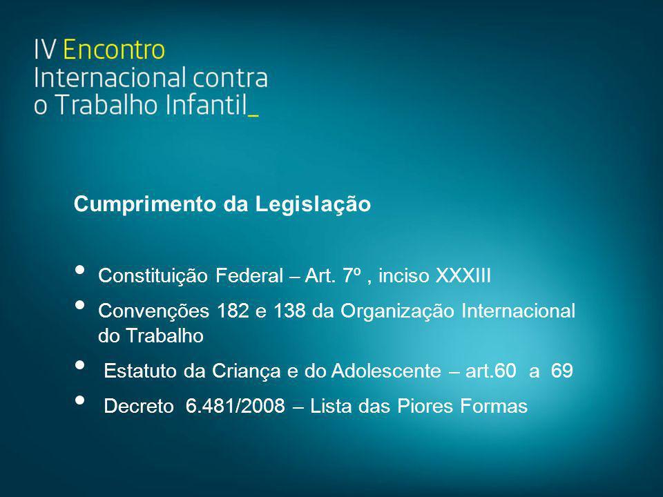 Cumprimento da Legislação • Constituição Federal – Art. 7º, inciso XXXIII • Convenções 182 e 138 da Organização Internacional do Trabalho • Estatuto d