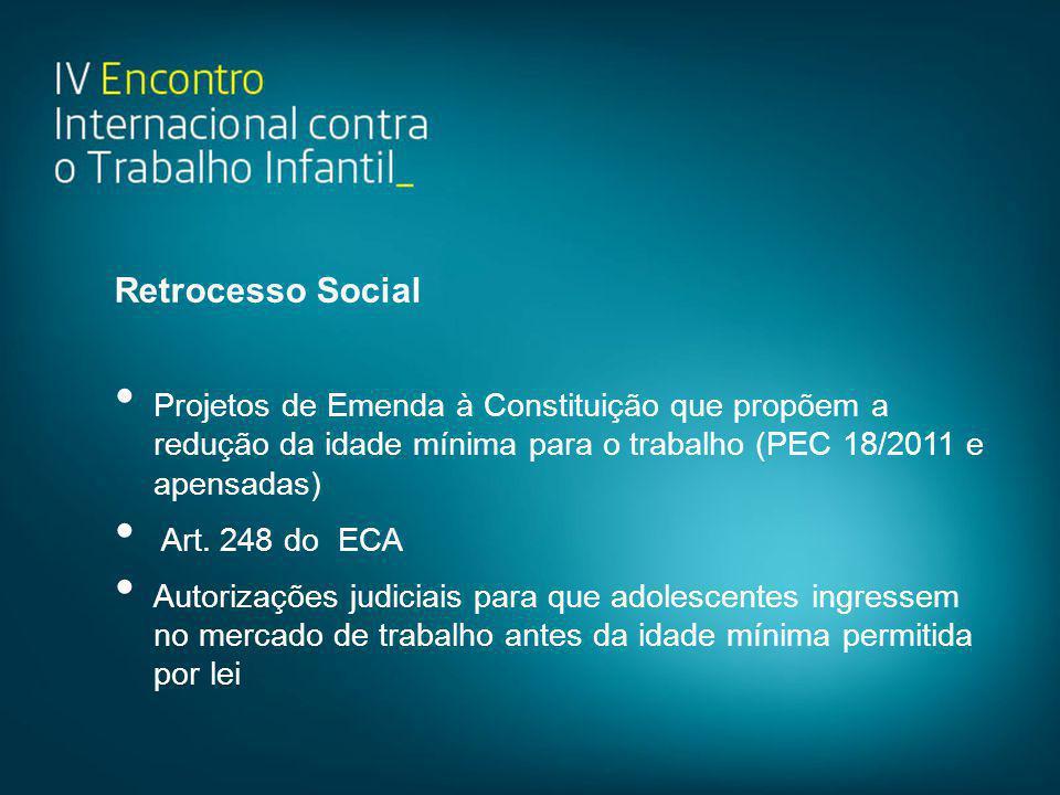 Retrocesso Social • Projetos de Emenda à Constituição que propõem a redução da idade mínima para o trabalho (PEC 18/2011 e apensadas) • Art. 248 do EC