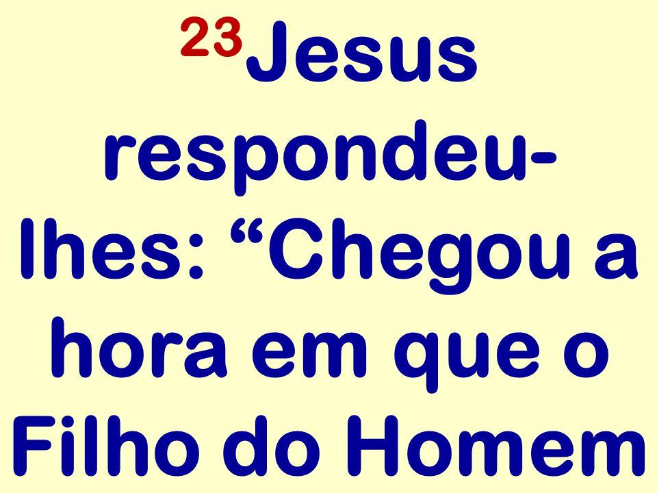 """23 Jesus respondeu- lhes: """"Chegou a hora em que o Filho do Homem"""