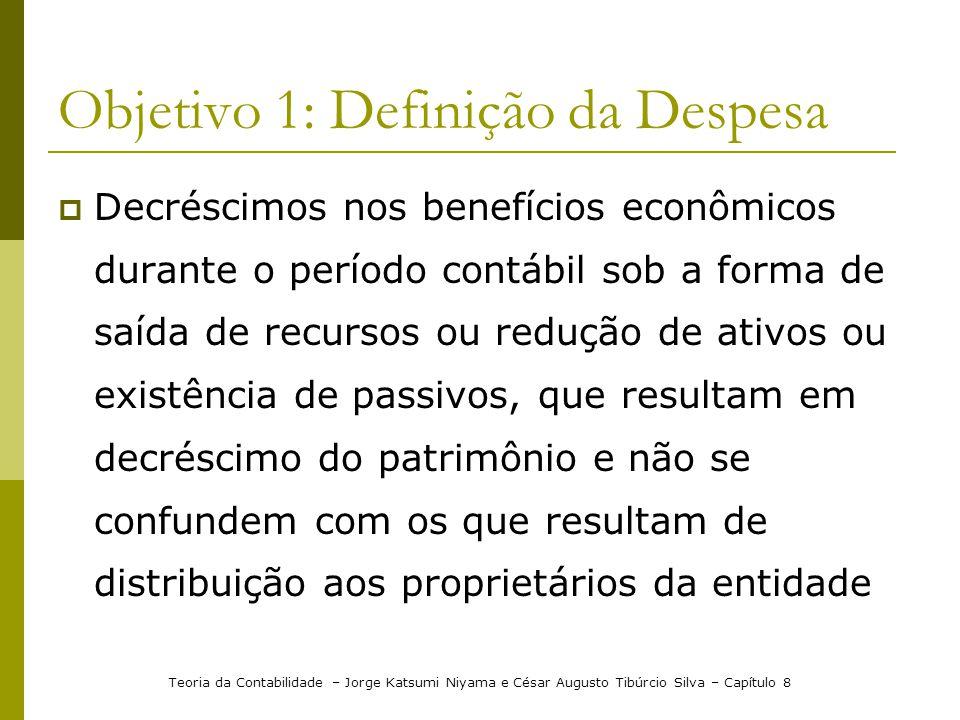 Objetivo 1: Definição da Despesa  Decréscimos nos benefícios econômicos durante o período contábil sob a forma de saída de recursos ou redução de ati