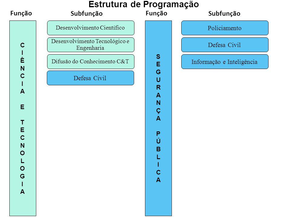 Difusão do Conhecimento C&T Desenvolvimento Tecnológico e Engenharia Desenvolvimento Científico CIÊNCIA ETECNOLOGIACIÊNCIA ETECNOLOGIA Defesa Civil In