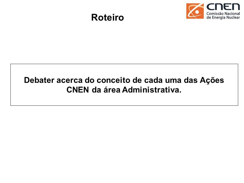 23 Debater acerca do conceito de cada uma das Ações CNEN da área Administrativa. Roteiro