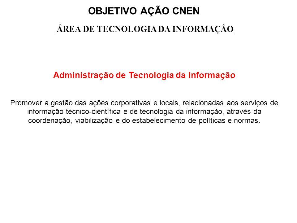 OBJETIVO AÇÃO CNEN ÁREA DE TECNOLOGIA DA INFORMAÇÃO Administração de Tecnologia da Informação Promover a gestão das ações corporativas e locais, relac