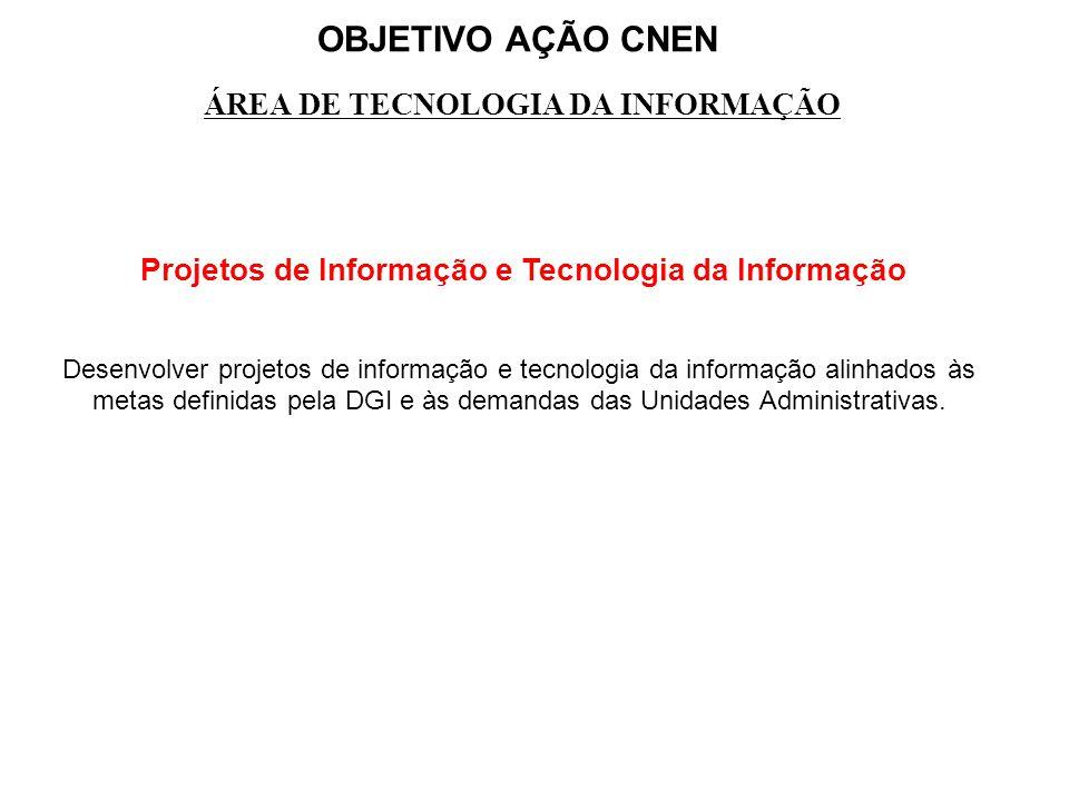 OBJETIVO AÇÃO CNEN ÁREA DE TECNOLOGIA DA INFORMAÇÃO Projetos de Informação e Tecnologia da Informação Desenvolver projetos de informação e tecnologia