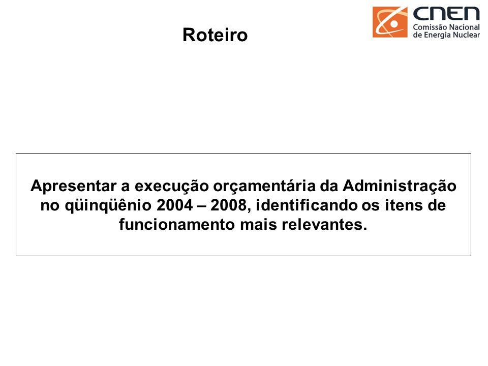 47 Apresentar a execução orçamentária da Administração no qüinqüênio 2004 – 2008, identificando os itens de funcionamento mais relevantes. Roteiro