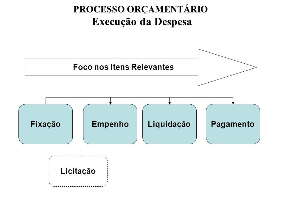 Empenh o Liquidação Pagamento Fixação Foco nos Itens Relevantes PROCESSO ORÇAMENTÁRIO Execução da Despesa Licitação