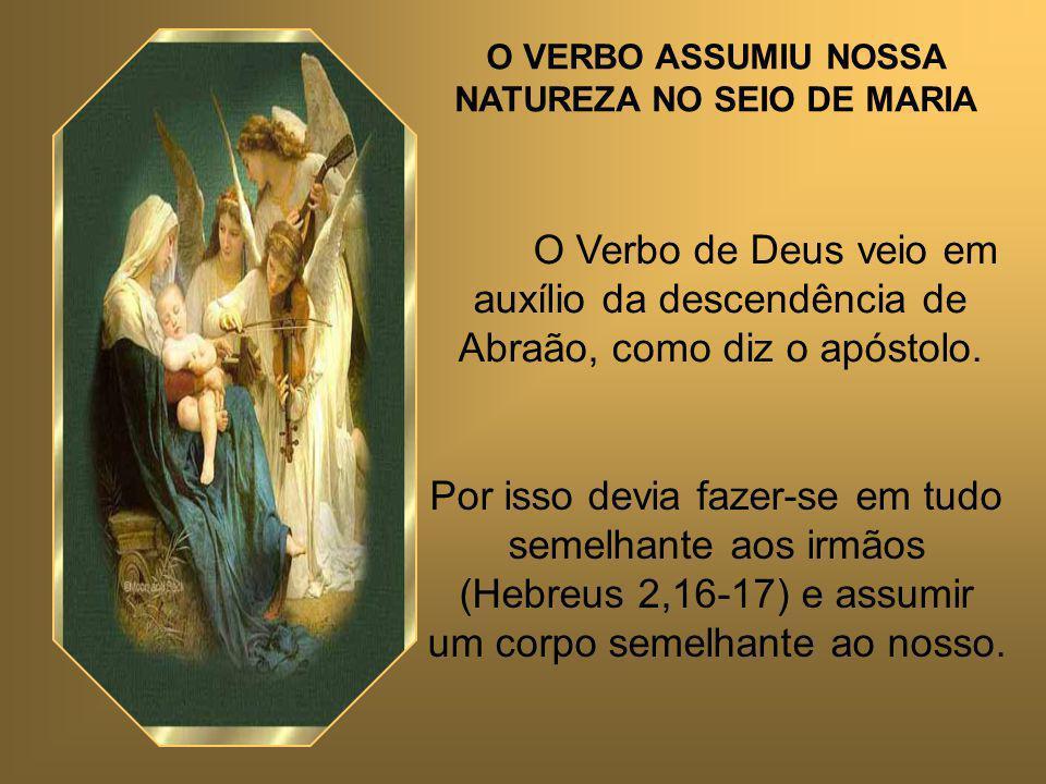 O VERBO ASSUMIU NOSSA NATUREZA NO SEIO DE MARIA O Verbo de Deus veio em auxílio da descendência de Abraão, como diz o apóstolo.