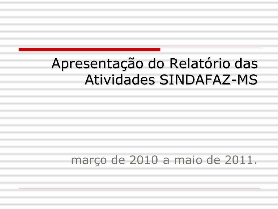 Apresentação do Relatório das Atividades SINDAFAZ-MS março de 2010 a maio de 2011.