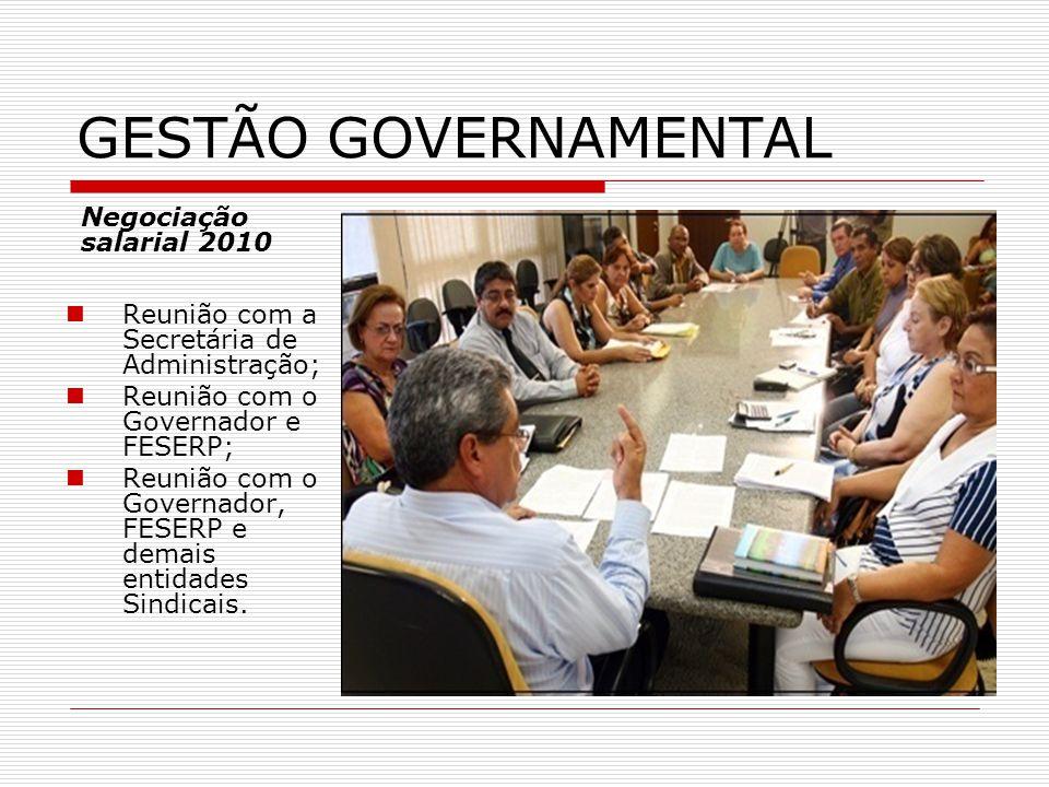  Reunião com a Secretária de Administração;  Reunião com o Governador e FESERP;  Reunião com o Governador, FESERP e demais entidades Sindicais.  N