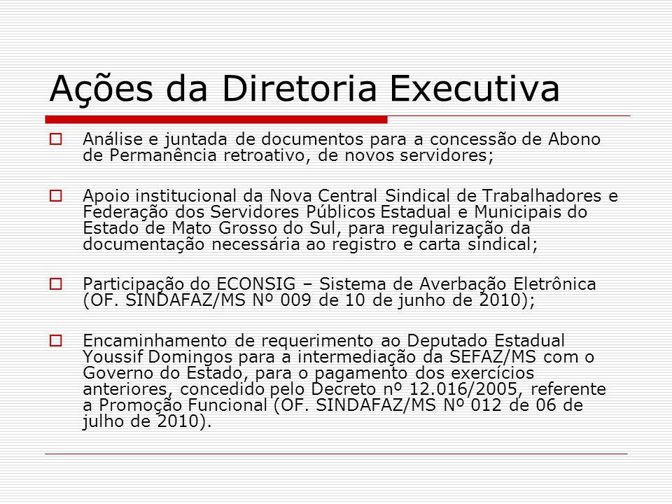 Ações da Diretoria Executiva  Análise e juntada de documentos para a concessão de Abono de Permanência retroativo, de novos servidores;  Apoio insti