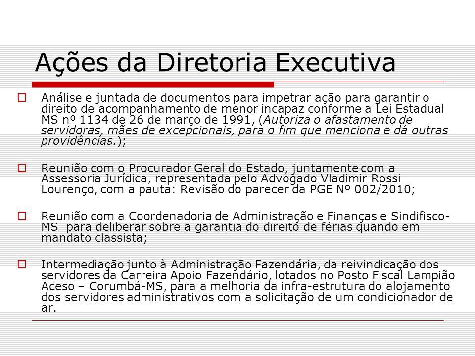 Ações da Diretoria Executiva  Análise e juntada de documentos para impetrar ação para garantir o direito de acompanhamento de menor incapaz conforme