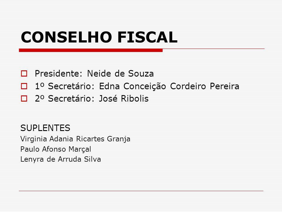 CONSELHO FISCAL  Presidente: Neide de Souza  1º Secretário: Edna Conceição Cordeiro Pereira  2º Secretário: José Ribolis SUPLENTES Virginia Adania