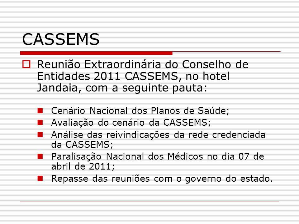CASSEMS  Reunião Extraordinária do Conselho de Entidades 2011 CASSEMS, no hotel Jandaia, com a seguinte pauta:  Cenário Nacional dos Planos de Saúde