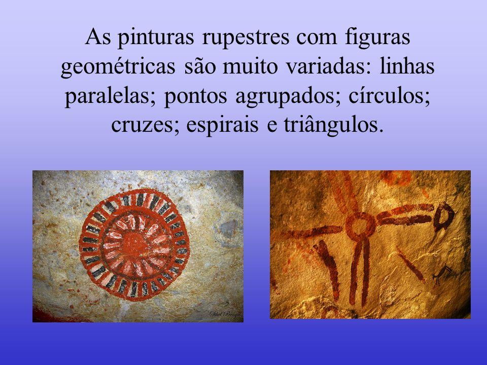 Os exemplos de pinturas rupestres representados são encontrados nas cavernas em várias regiões do Pantanal.