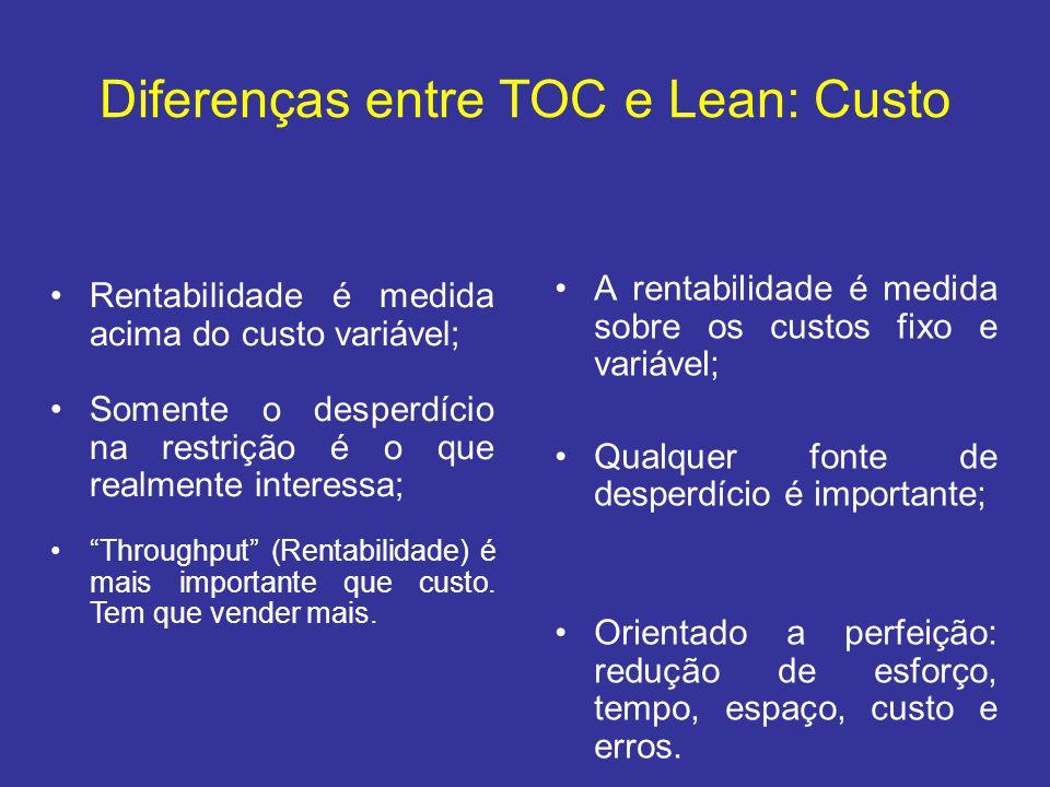 Diferenças entre TOC e Lean: Custo •A rentabilidade é medida sobre os custos fixo e variável; •Qualquer fonte de desperdício é importante; •Orientado