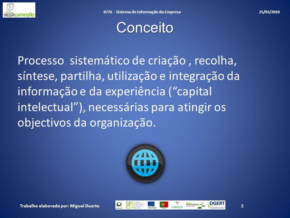 Conceito Processo sistemático de criação, recolha, síntese, partilha, utilização e integração da informação e da experiência ( capital intelectual ), necessárias para atingir os objectivos da organização.