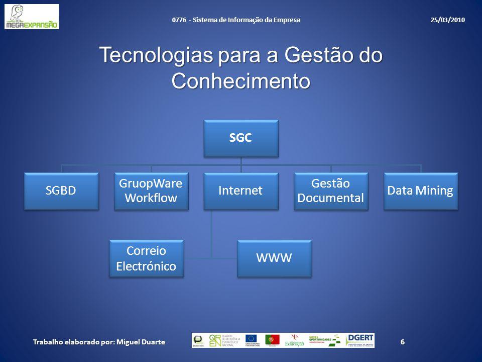 Tecnologias para a Gestão do Conhecimento SGC SGBD GruopWare Workflow Internet WWW Correio Electrónico Gestão Documental Data Mining Trabalho elaborado por: Miguel Duarte6 0776 - Sistema de Informação da Empresa 25/03/2010