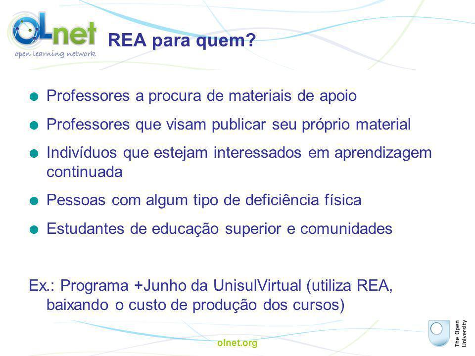 olnet.org REA: formas de utilização  Publicando no site do OpenLearn (o conceito de 'troca')  Publicando em qualquer outro website (sempre respeitando a licença do material, ex.