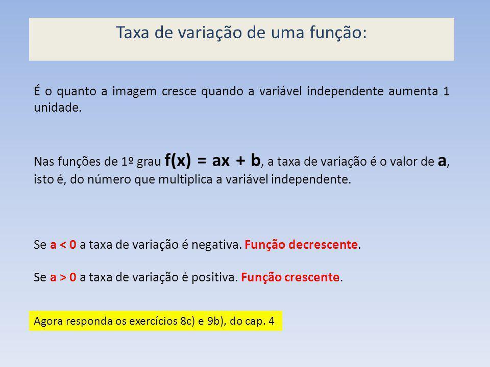 É o quanto a imagem cresce quando a variável independente aumenta 1 unidade. Nas funções de 1º grau f(x) = ax + b, a taxa de variação é o valor de a,