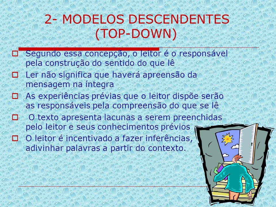 2- MODELOS DESCENDENTES (TOP-DOWN)  Segundo essa concepção, o leitor é o responsável pela construção do sentido do que lê  Ler não significa que hav
