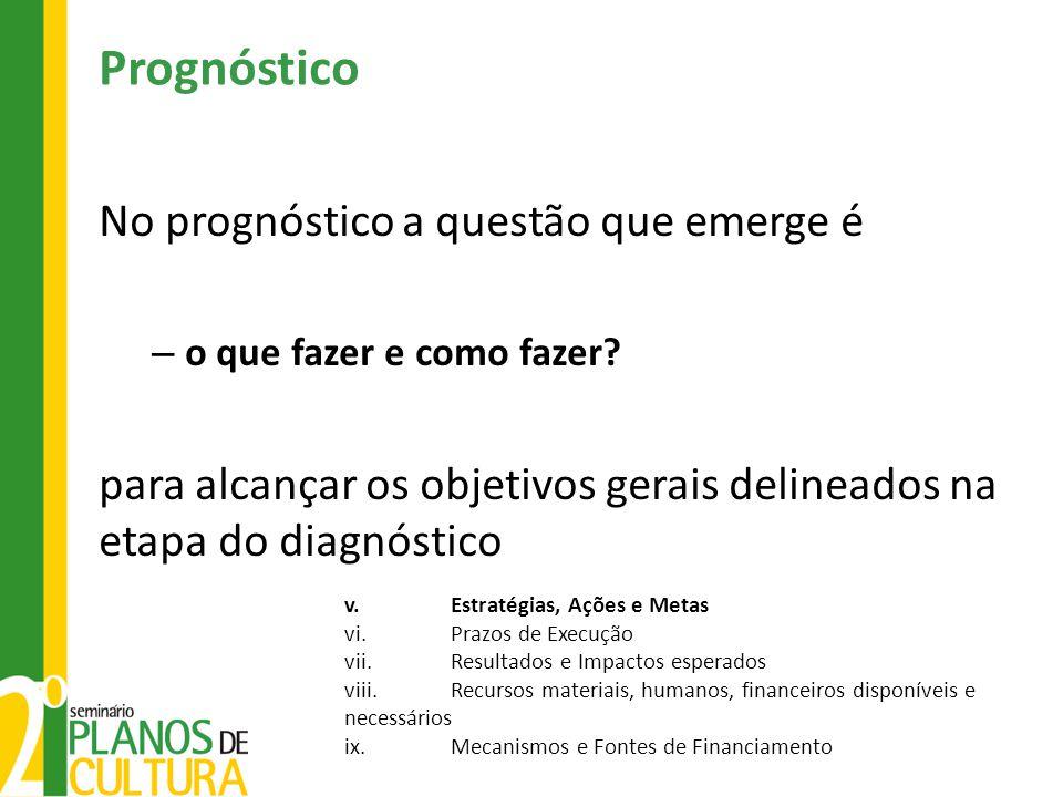 No prognóstico a questão que emerge é – o que fazer e como fazer? para alcançar os objetivos gerais delineados na etapa do diagnóstico v.Estratégias,