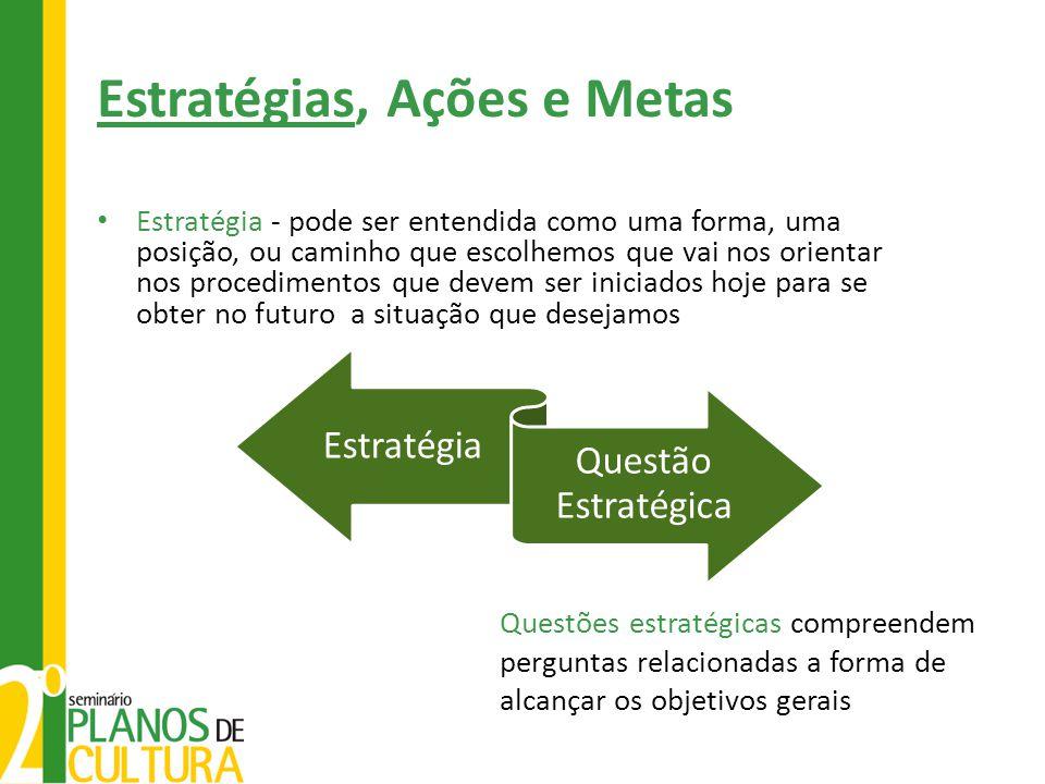 Estratégias, Ações e Metas • Estratégia - pode ser entendida como uma forma, uma posição, ou caminho que escolhemos que vai nos orientar nos procedime